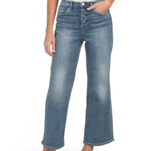 BLANK NYC Stacked Button Wide Leg Cropped Jeans